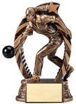 Antique Bronze and Gold Award -Bowling Female  Bronze and Gold Star Resin Trophy Awards