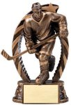 Antique Bronze and Gold Award -Hockey Male  Bronze and Gold Star Resin Trophy Awards