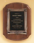 American Walnut Plaque with an Antique Bronze Casting Cast Relief Plaques
