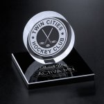 Hockey Puck on Black Glass Base Circle Awards