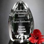 Clipped Oval Clear Optical Crystal Awards