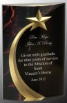 Red Marble Rounded Shooting Star Acrylic Employee Awards