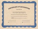 Certificate of Recognition Award Fill in the Blank Certificates