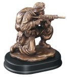 Soldier Kneeling With Rifle Drawn Military Trophy Awards