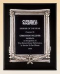 Black Piano Finish Plaque with Antique Silver Frame Casting Recognition Plaques