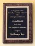 Walnut Stained Piano Finish Plaque with Brass Plate Recognition Plaques