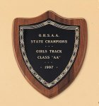 American Walnut Shield Plaque with a Black Brass Plate Religious Awards