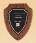 American Walnut Shield Plaque with a Black Brass Plate Sales Awards