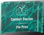 Green Marbleized Acrylic Crescent  Square Rectangle Awards
